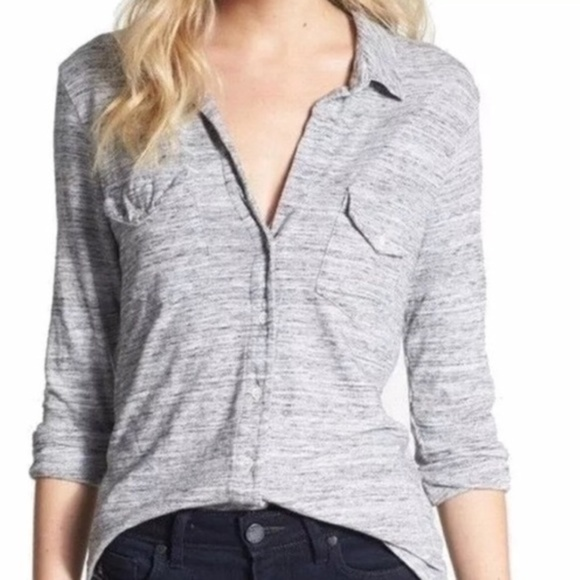 95fcaafc James Perse Tops - Standard James Perse Gray Ribbed Knit Button Shirt